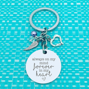 Always On My Mind Forever In My Heart, Double Sided Personalised Keyring (add your message to the back)