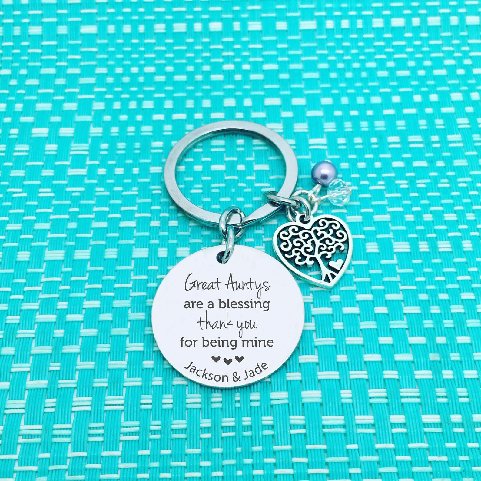 Great Aunty's Are A Blessing Personalised Keyring (Custom Aunty Gift, Personalised Aunty from Nieces and Nephews)