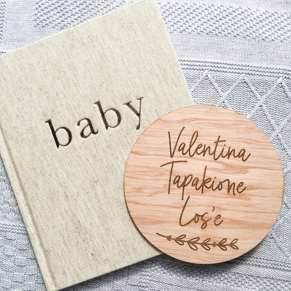Newborn Baby Name Announcement Plaque Sign (Wooden Newborn Announcement Sign, New Baby Name Reveal)