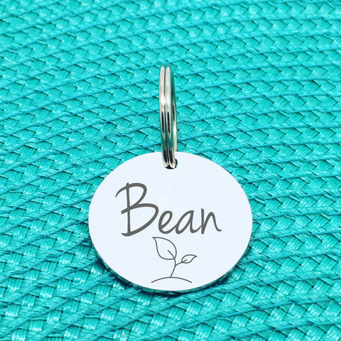 Engraved Custom Pet Tag Bean Sprout Design (Personalised Dog Tag / Personalised Cat Tag)