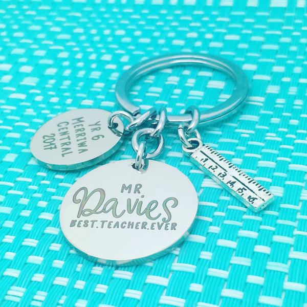 Best Teacher Ever Personalised Keyring (Teacher Gift, Personalised Teacher Gift)