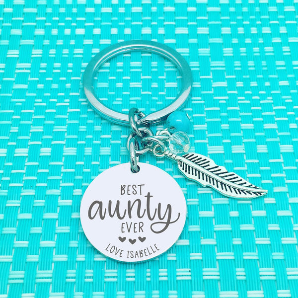 Best Aunty Ever Personalised Keyring (Custom Aunty Gift, Personalised Auntie Gift from Nieces and Nephews)
