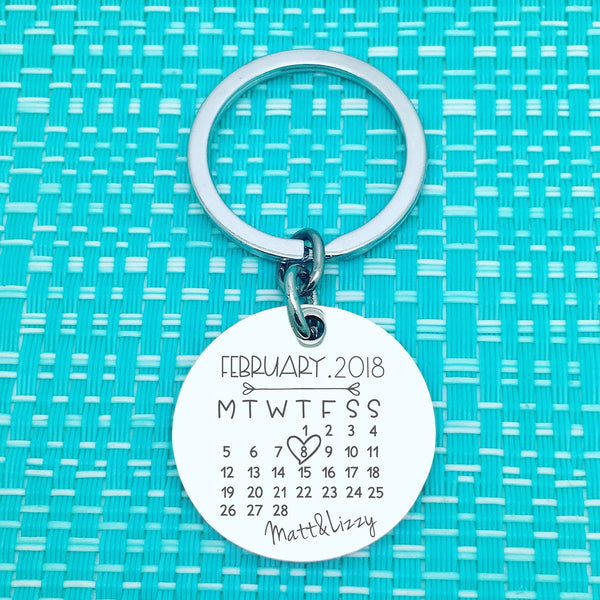 Personalised Calendar Anniversary keyring , circle shape (choose your month and year)