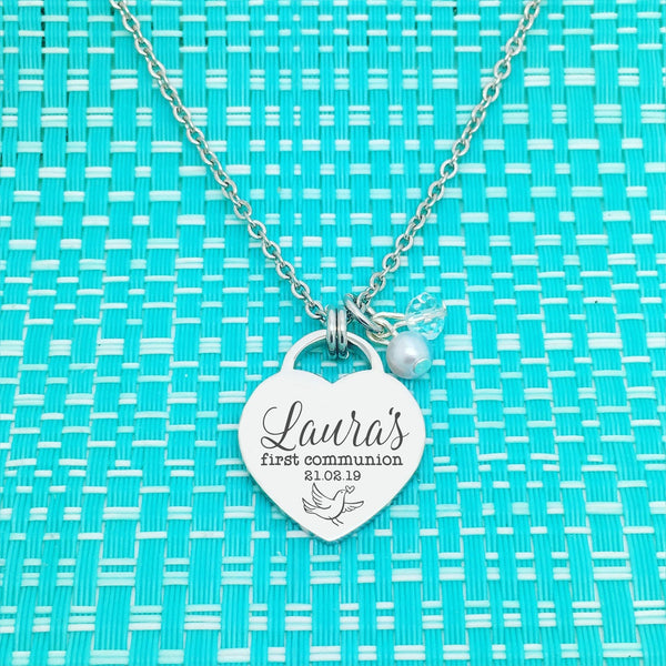First Communion Personalised Heart Shaped Necklace (Communion Gift, Gift for Girl)
