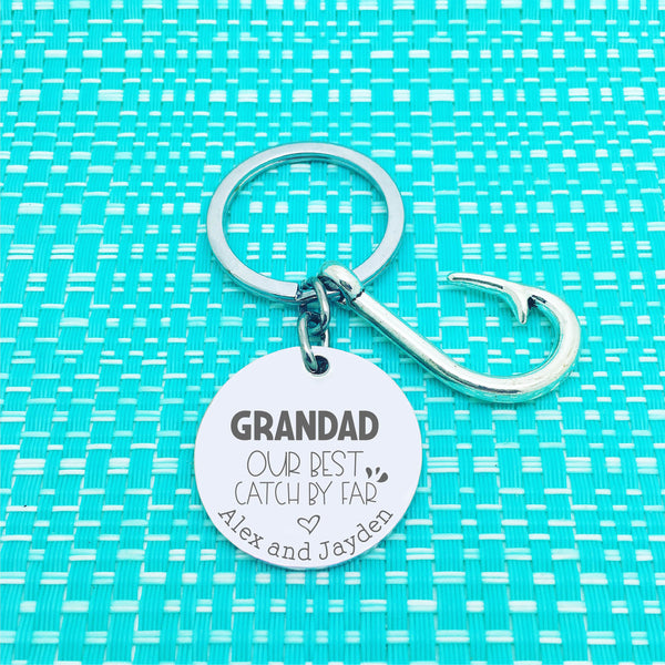 Daddy Our Best Catch So Far Personalised Keyring (change Daddy to a name of your choosing)
