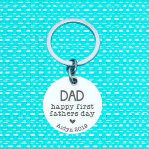 Happy First Fathers Day Personalised Keyring (change Dad to a name of your choosing)