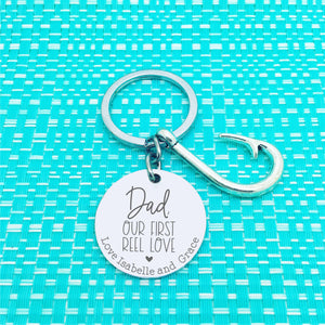 Dad, My First Reel Love Personalised Keyring (change Dad to a name of your choosing)