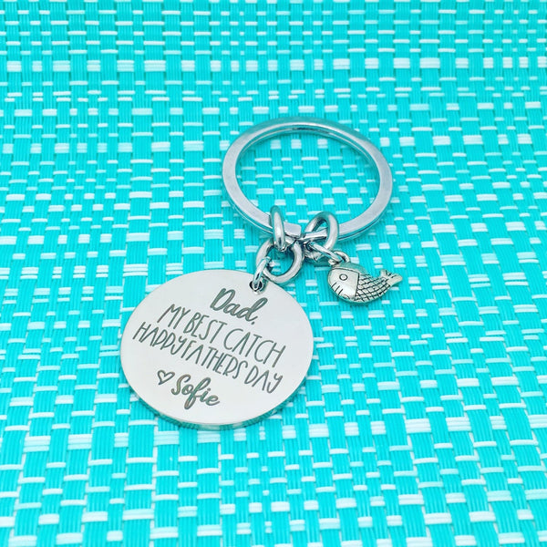 Dad, My Best Catch, Happy First Fathers Day Personalised Keyring (change Daddy to a name of your choosing)