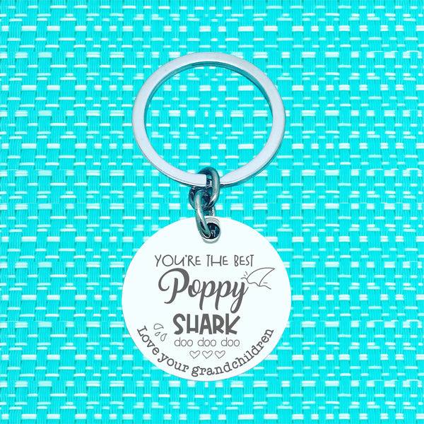 Daddy Shark Personalised Keyring (change Daddy to a name of your choosing)