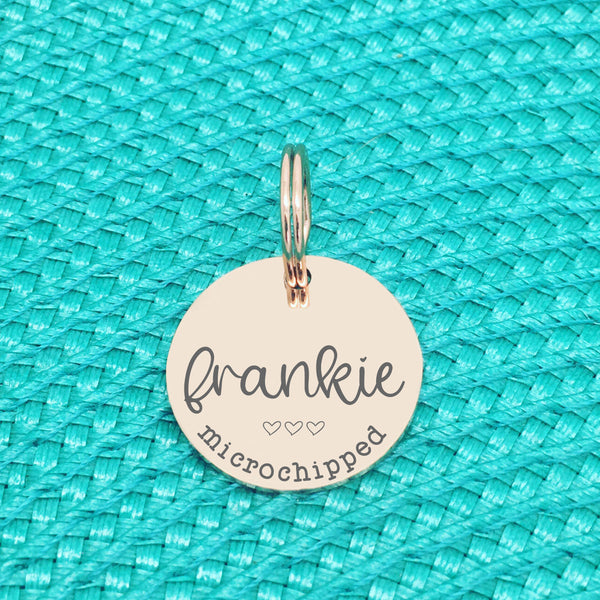 Rose Gold Personalised Dog Tag, Frankie Microchipped Design with Heart Image (Personalised Dog Tag / Personalised Cat Tag)