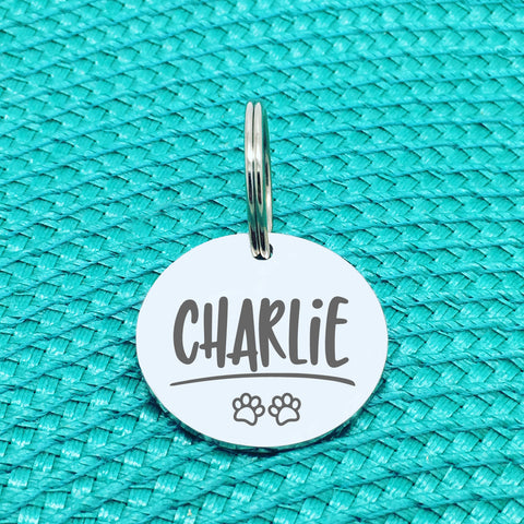 Personalised Pet Tag, Charlie Design With Paw Prints (Personalised Dog Tag / Personalised Cat Tag)