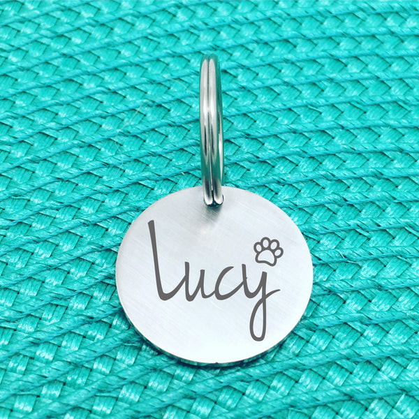 Matte Finish Personalised Pet Tag Archie Design with Paw Print Image (Personalised Dog Tag / Personalised Cat Tag)