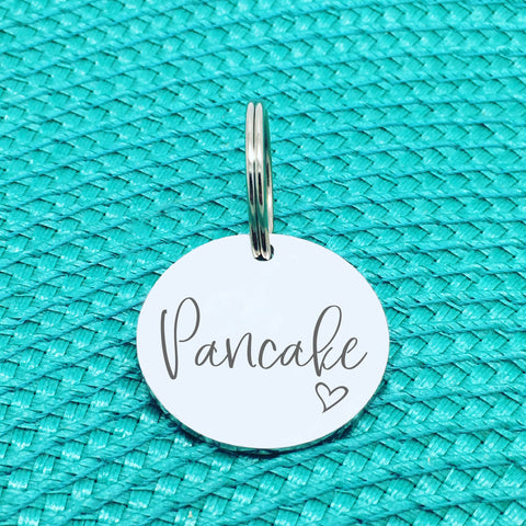 Personalised Pet Tag, Pancake Design with Heart Image (Personalised Dog Tag / Personalised Cat Tag)