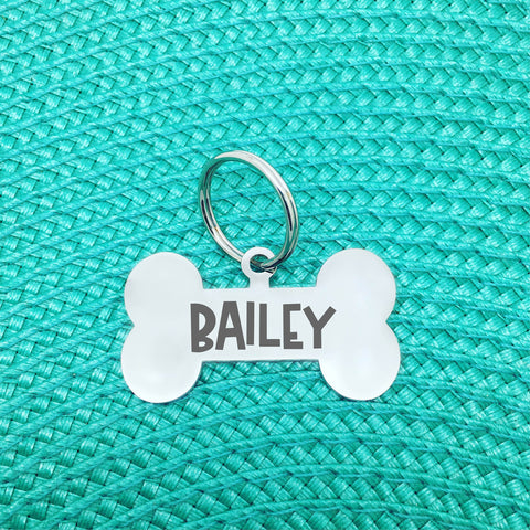 Personalised Dog Tag - Double Sided Bone Shaped Dog Tag (for large dogs) - Bailey Design
