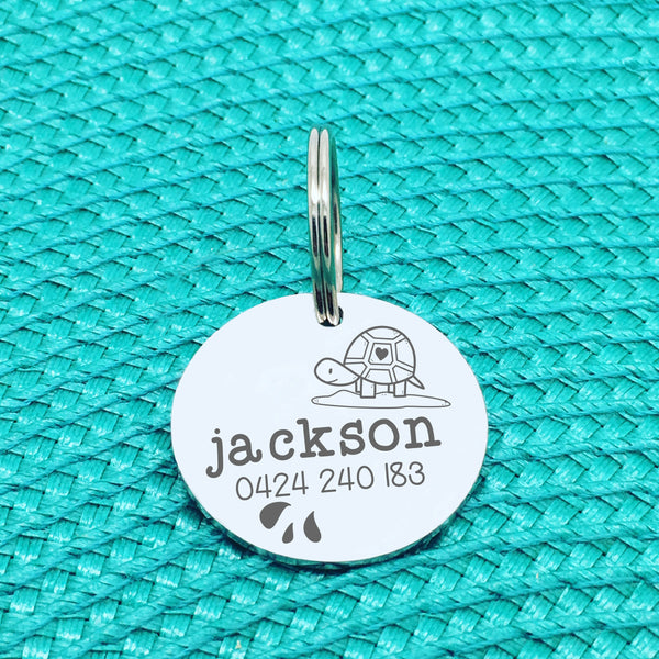 Engraved Personalised Pet Tag Stretch Turtle Design