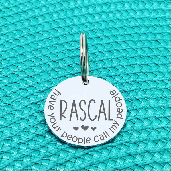 Have Your People Call My People Personalised Pet Tag with Hearts (Personalised Dog Tag / Personalised Cat Tag)