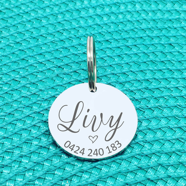 Personalised Pet Tag, Cute Pet Tag with Heart, Livy Design (Personalised Dog Tag / Personalised Cat Tag)