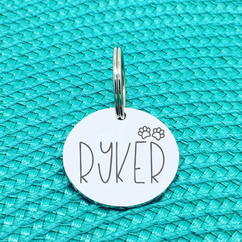 Engraved Personalised Pet Ryker Paw Print Design (Personalised Custom Engraved Dog Tag)