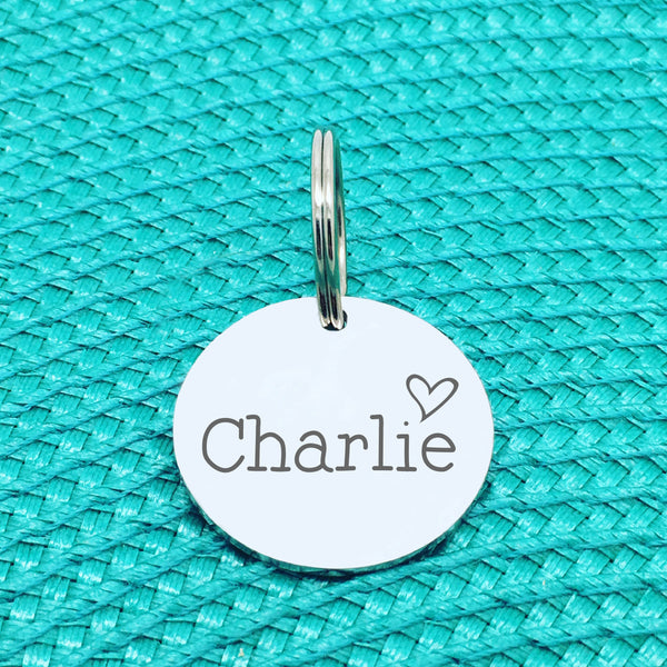 Engraved Personalised Pet Tag, Clancy Heart Design (Personalised Custom Engraved Dog Tag)