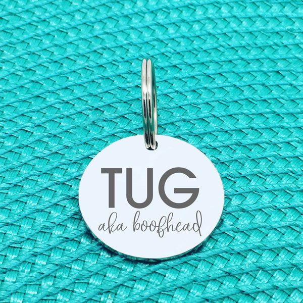 Personalised Pet Tag, 'Boofhead' Design (Personalised Custom Engraved Dog Tag)