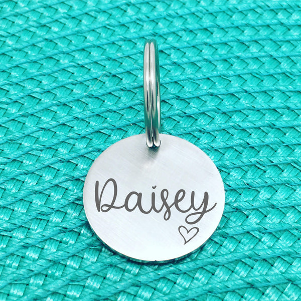 Matte Finish Personalised Pet Tag Charlie Design with Heart Image (Personalised Dog Tag / Personalised Cat Tag)
