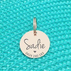 Rose Gold Personalised Dog Tag, Sadie Design with Heart Image (Personalised Dog Tag / Personalised Cat Tag)