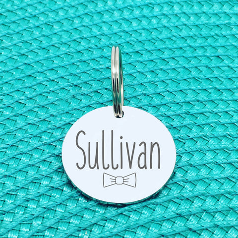 Personalised Pet Tag, Sullivan Design with Bow Tie (Personalised Dog Tag / Personalised Cat Tag)