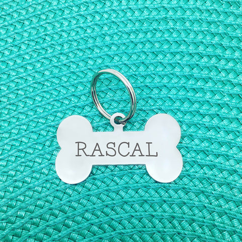 Personalised Dog Tag - Double Sided Bone Shaped Dog Tag (for large dogs) - Rascal Design