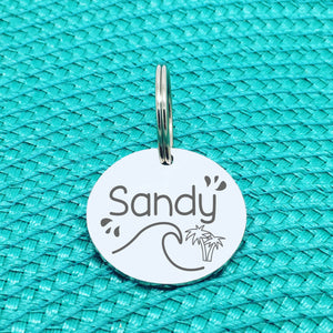 Engraved Personalised Pet Tag, Beachy Vibes Design (Personalised Custom Engraved Dog Tag)