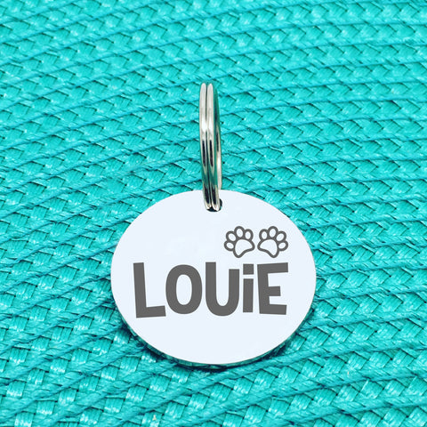 Engraved Personalised Pet Tag, Gilligan Paw Print Design (Personalised Custom Engraved Dog Tag)
