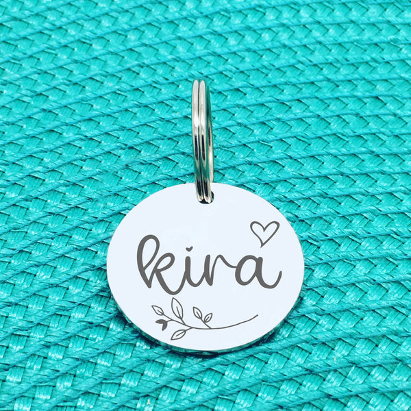 Engraved Personalised Pet Tag, Lady Design With Branch & Heart (Personalised Custom Engraved Dog Tag)