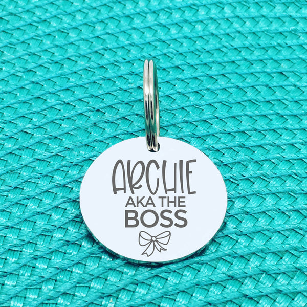 Personalised Pet Tag, 'The Boss' Design (Personalised Custom Engraved Dog Tag)