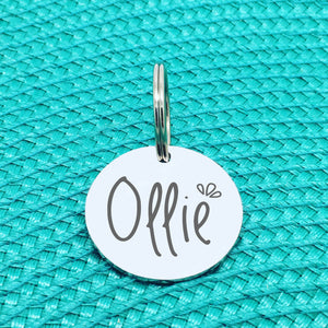 Personalised Pet Tag, Ollie Design with Splash Image (Personalised Dog Tag / Personalised Cat Tag)