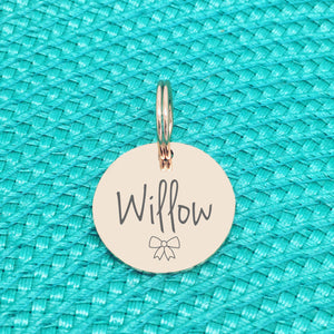 Rose Gold Personalised Dog Tag, Willow Bow Design (Personalised Dog Tag / Personalised Cat Tag)
