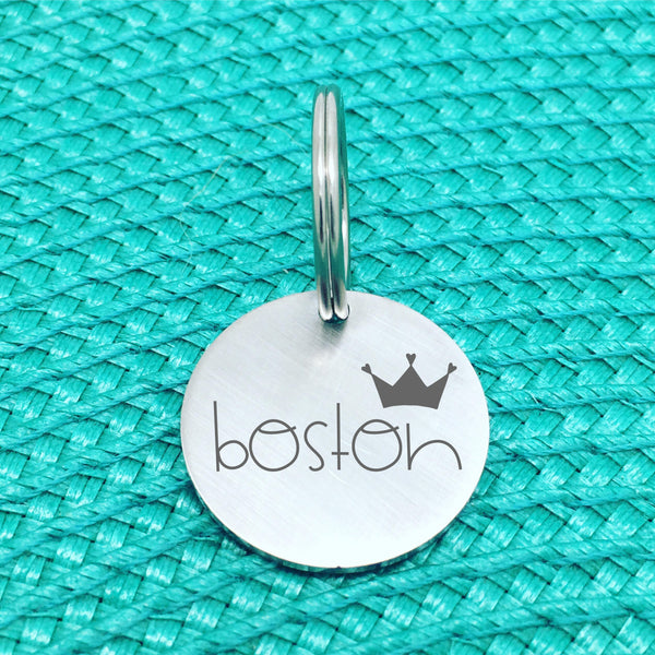 Matte Finish Personalised Pet Tag Boston Design with Crown Image (Personalised Dog Tag / Personalised Cat Tag)