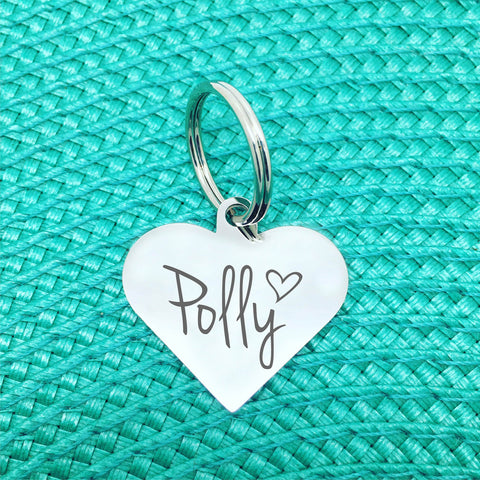 Personalised Dog Tag - Double Sided Heart Shaped Dog Tag - Polly Design