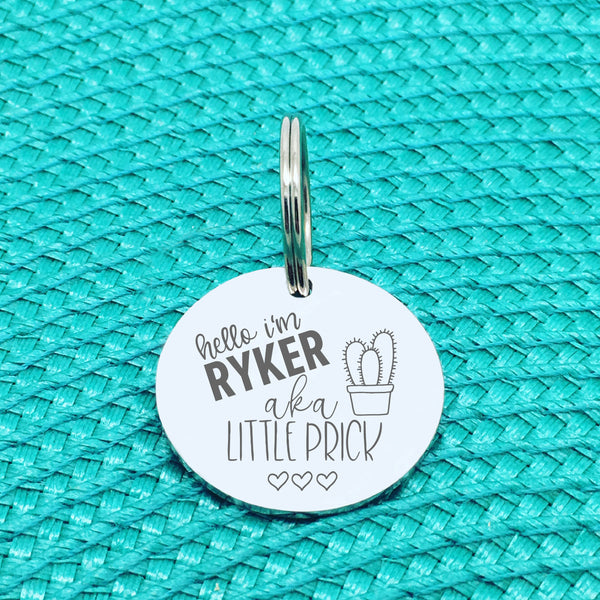 Personalised Pet Tag, 'Little Prick' Design (Personalised Custom Engraved Dog Tag)