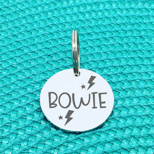 Engraved Personalised Pet Tag, Lightning Bolt Design (Personalised Custom Engraved Dog Tag)