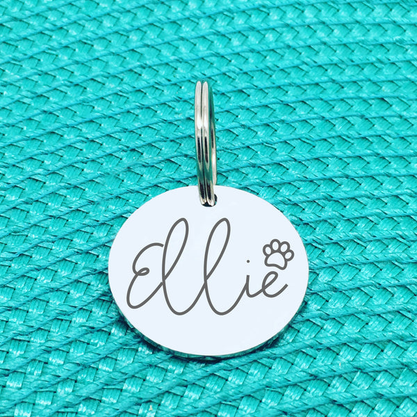 Engraved Personalised Pet Tag, 'Greg' Paw Print Design (Personalised Custom Engraved Dog Tag)