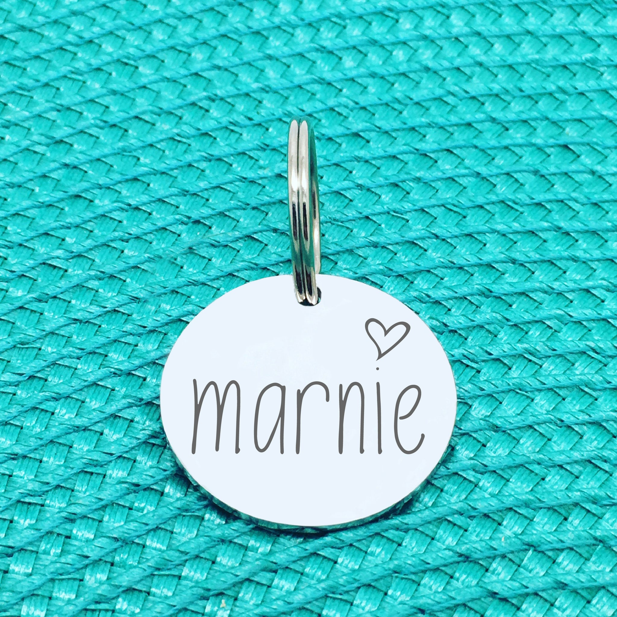 Engraved Personalised Pet Tag, 'Marnie' Heart Design (Personalised Custom Engraved Dog Tag)