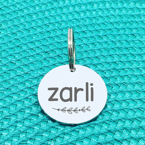 Engraved Personalised Pet Tag, 'Zarli' Branch Design (Personalised Custom Engraved Dog Tag)