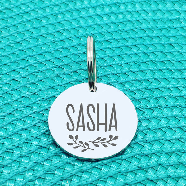 Engraved Personalised Pet Tag, 'Maple' Branch Design (Personalised Custom Engraved Dog Tag)