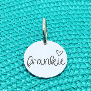 Engraved Custom Pet Tag Frankie Heart Design (Personalised Dog Tag / Personalised Cat Tag)