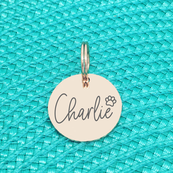 Rose Gold Personalised Dog Tag, Saxon Paw Print Design (Personalised Dog Tag / Personalised Cat Tag)