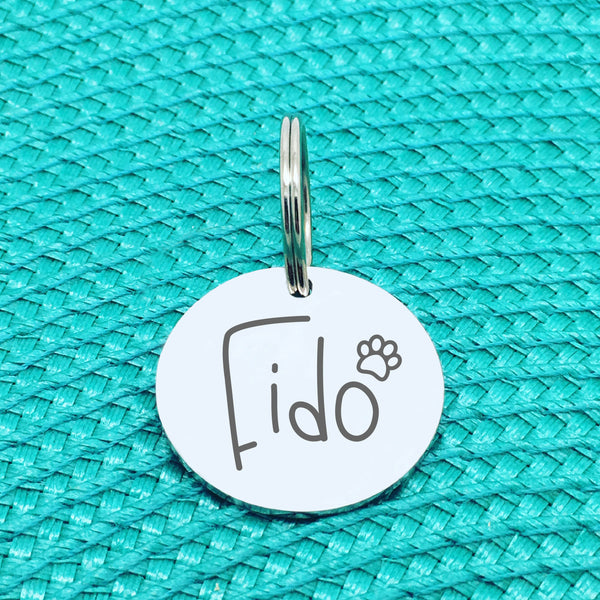 Personalised Pet Tag, Rocky Design with Paw Print Image (Personalised Dog Tag / Personalised Cat Tag)