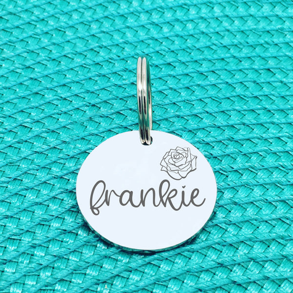 Personalised Pet Tag, 'Rose' Floral Design (Personalised Custom Engraved Dog Tag)