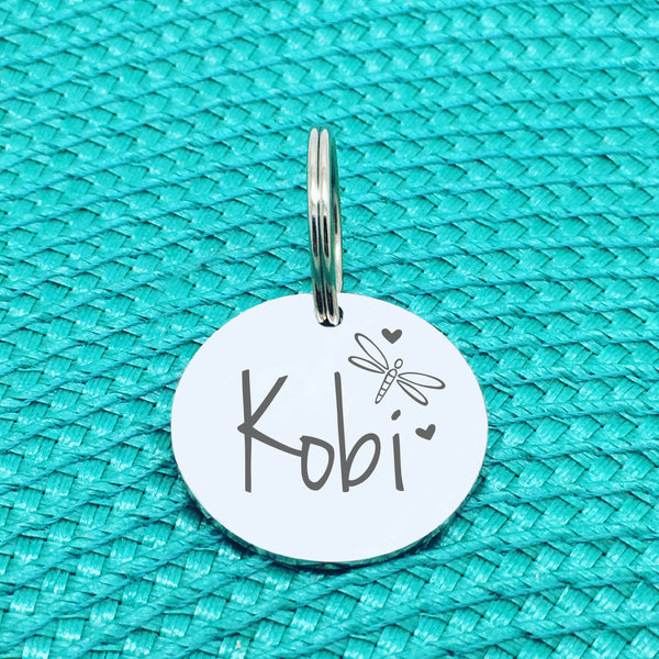 Engraved Personalised Pet Tag, Dragonfly Image Design (Personalised Custom Engraved Dog Tag)