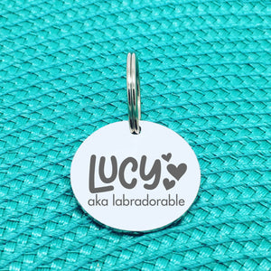 Personalised Pet Tag, 'Lucy' Aka Labradorable Design (Personalised Custom Engraved Dog Tag)