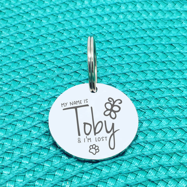 Personalised Pet Tag, 'Olive' I'm Lost Design (Personalised Custom Engraved Dog Tag)