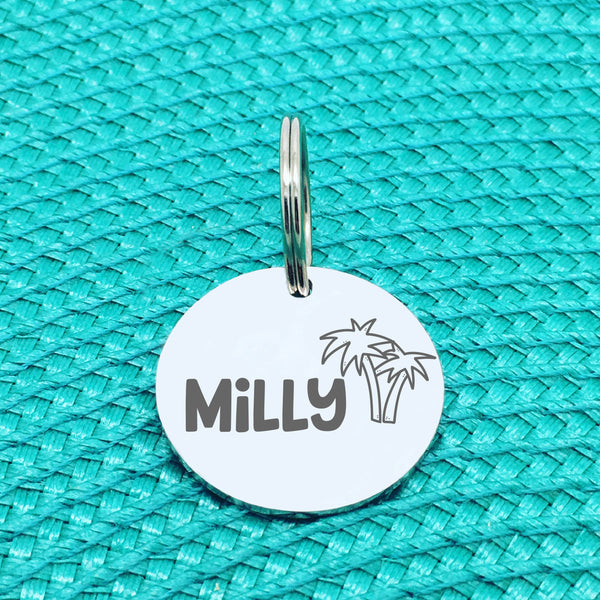 Engraved Personalised Pet Tag, 'Cali' Palm Tree Design (Personalised Custom Engraved Dog Tag)